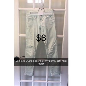 Loft 24/00 modern skinny pant, mint green